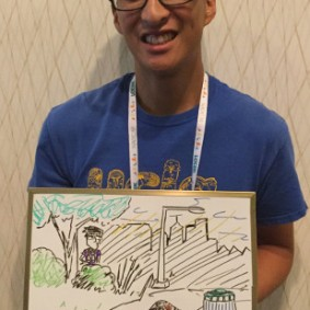 Student AOU member Jeffrey Lee drew his own biosketch—he studies relationship of urban birds and habitat.
