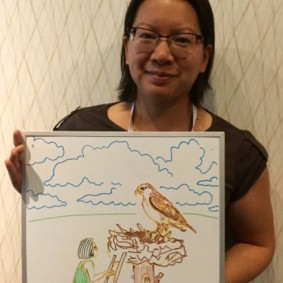 """Janet Ng studies effects of human development on birds of prey, like this larger-than-life Ferruginous Hawk (""""All birds are larger than life,"""" she said)."""