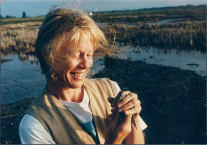 Susan Skagen with sandpiper