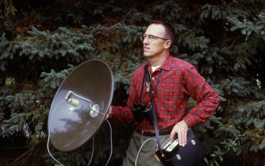 Dad recording avian vocalizations Fall 1968 (DD126)